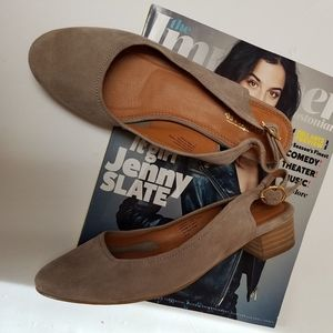 Anthro Seychelles electric gray taupe slingback